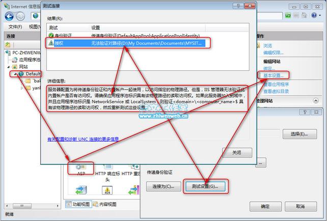 IIS7错误:服务器配置为将传递身份验证和内置帐户一起使用,以访问指定的物理路径