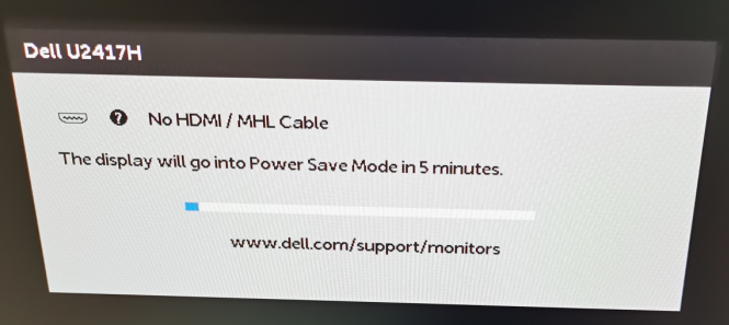 "DELL U2417H提示No DisplayPort Cable""(无DisplayPort电缆)"