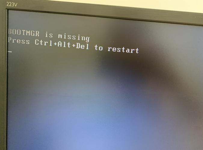 电脑开机提示BOOTMGR IS missing Press Ctrl+Alt+Del to restart